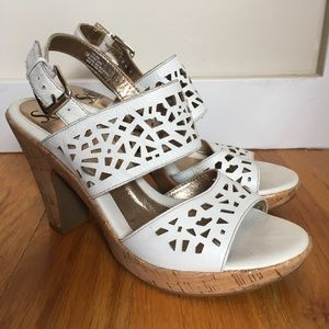 Söfft White Cork Heeled Sandals